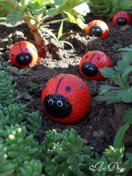 Kids Garden Ideas painted rock garden markers fun and easy kids gardening ideas to do this summer vacation Lady Bug Golf Balls