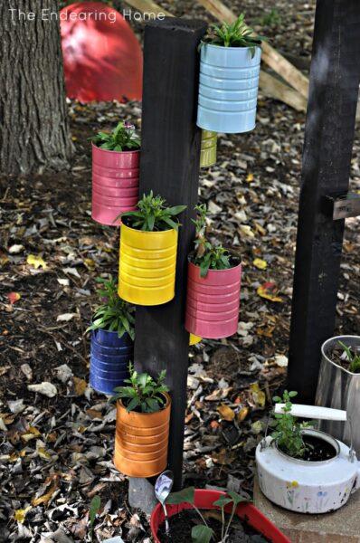 reuse formula tins in the garden