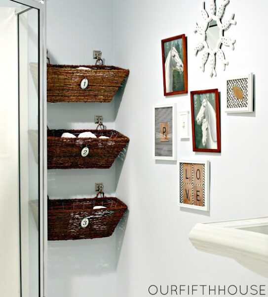 hanging baskets bathroom storage