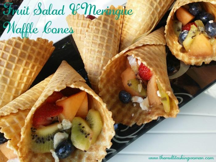 fruit salad meringue waffle cones