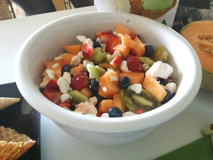 fruit salad waffle cones