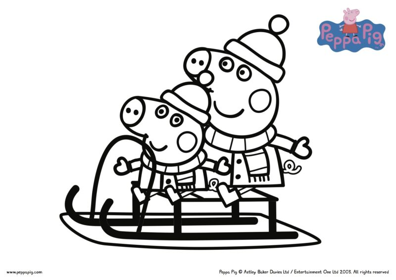 Colouring pages to print peppa pig - Peppa Pig Printable Christmas Worksheets The Multitasking Woman