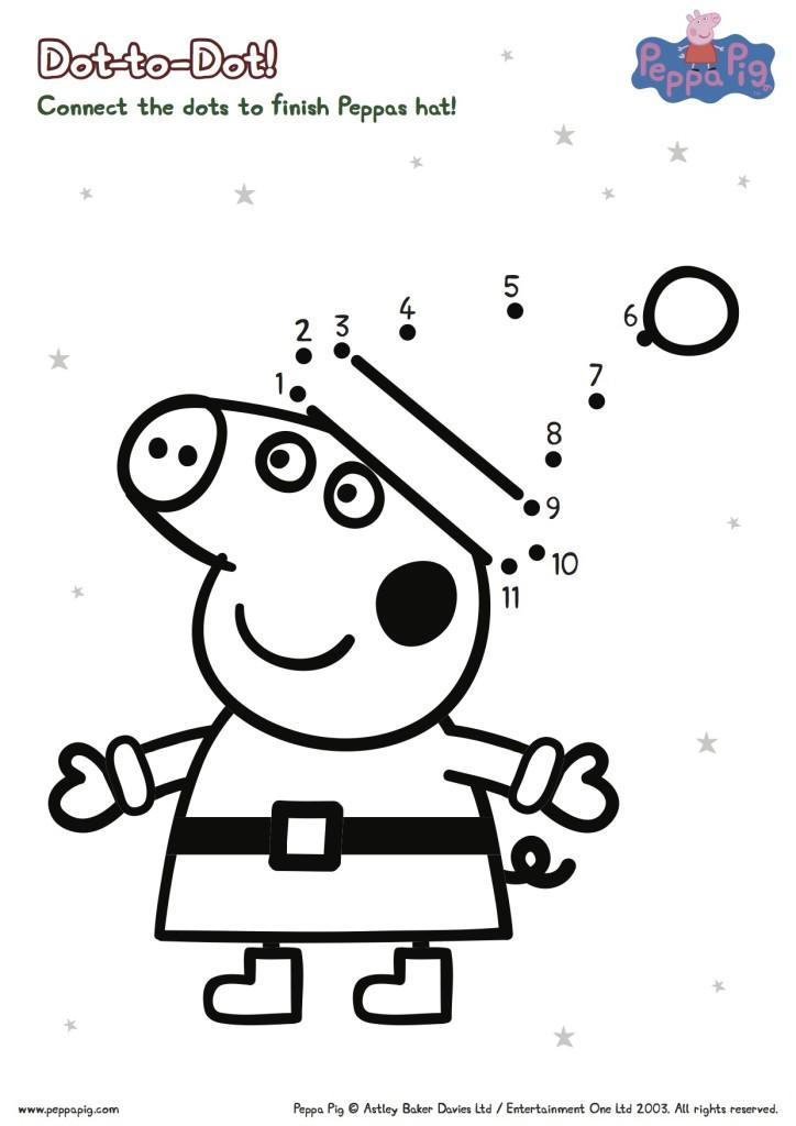 Peppa Pig Christmas Connect the Dots Printable