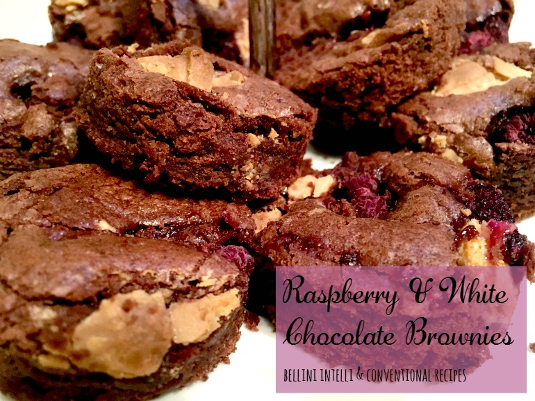 bellini intelli recipes - raspberry & white chocolate brownies