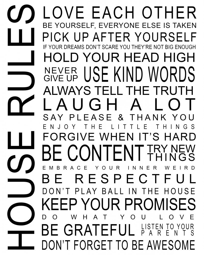 free printables inspirational posters house rules