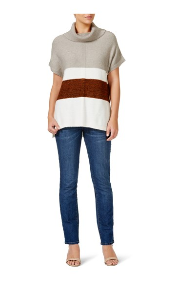 Rockmans Extended Sleeve Mixed Stripe Knit