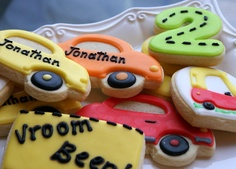 colourful cars birthday party cookies