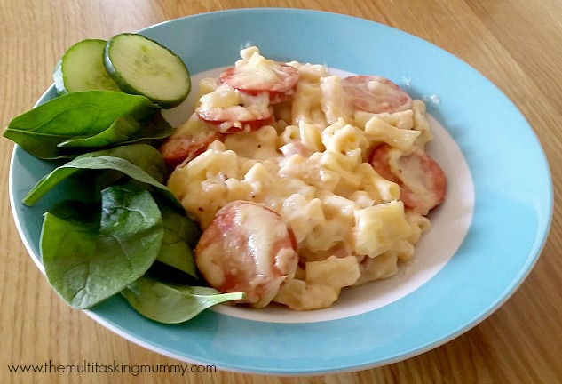 macaroni cheese with kransky sausage text