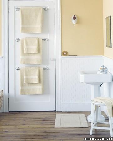 bathroom door towel rails