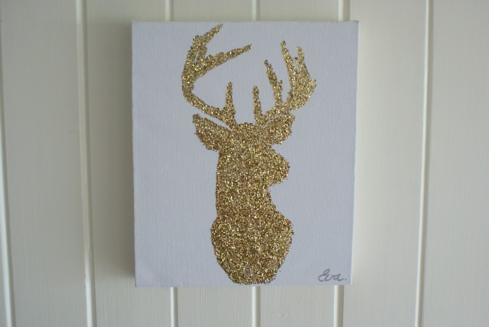 diy glitter reindeer wall art