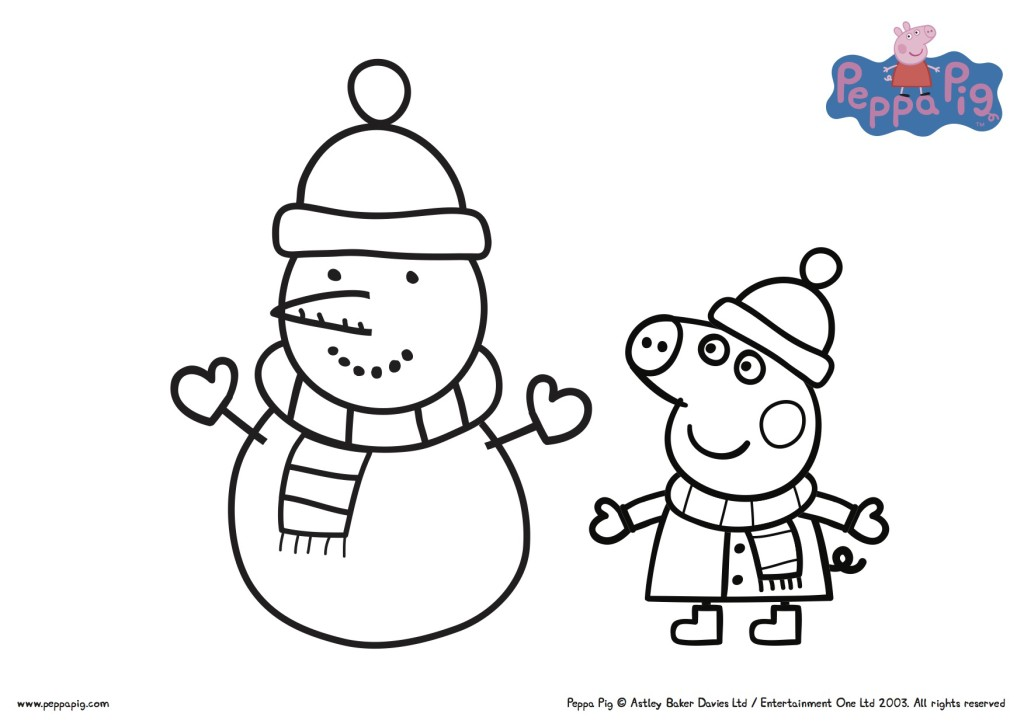 Peppa Pig Christmas Colouring Printable