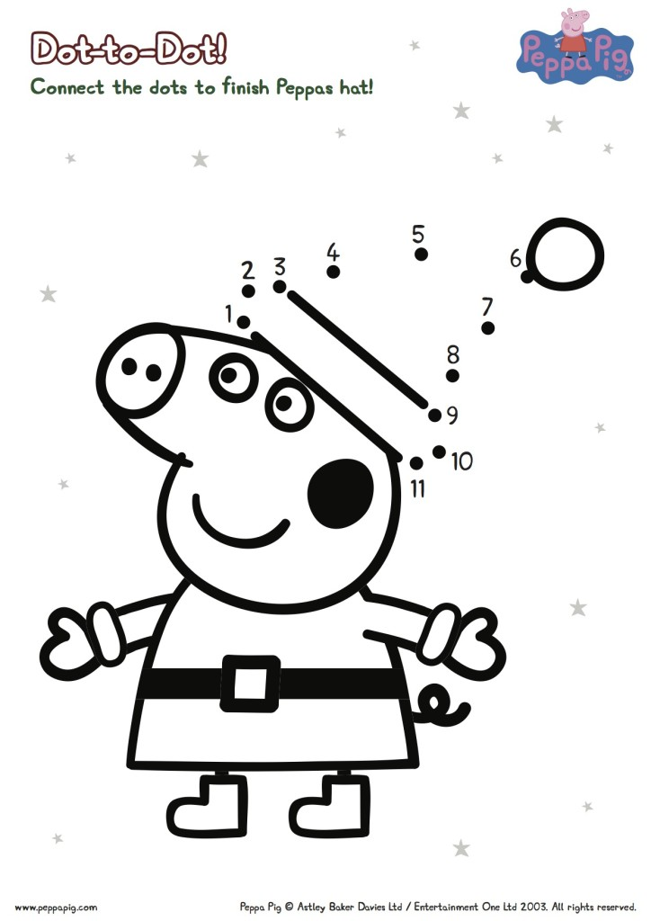 Peppa Pig Christmas Connect the Dots Printable