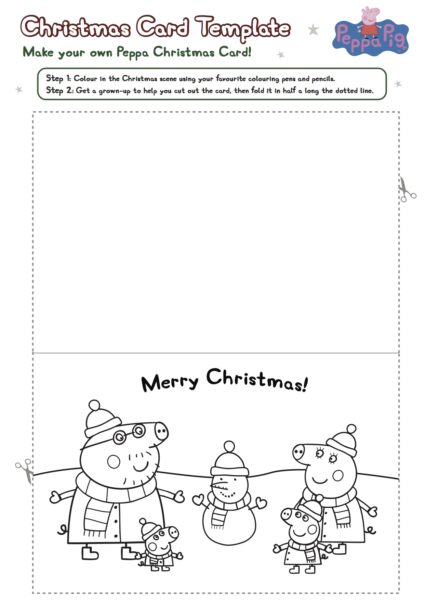 Printables Comment To Peppa Pig Coloring Pages For Kids Free Online - Christmas card templates to color