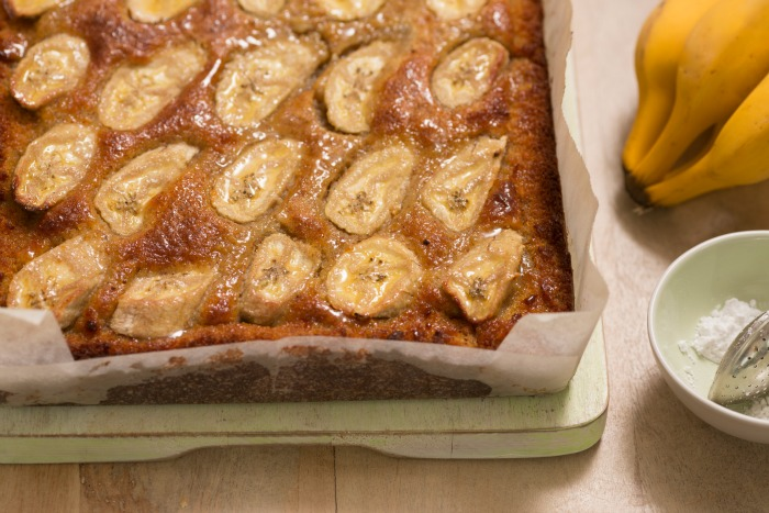 flourless and gluten free banana cake slice