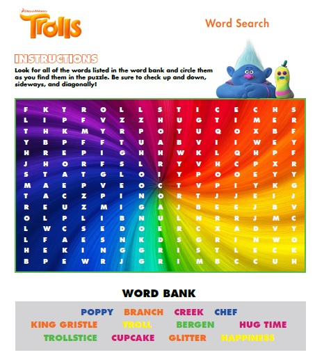 Trolls free activity sheet wordsearch