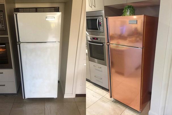 Kmart copper vinyl adhesive fridge hack