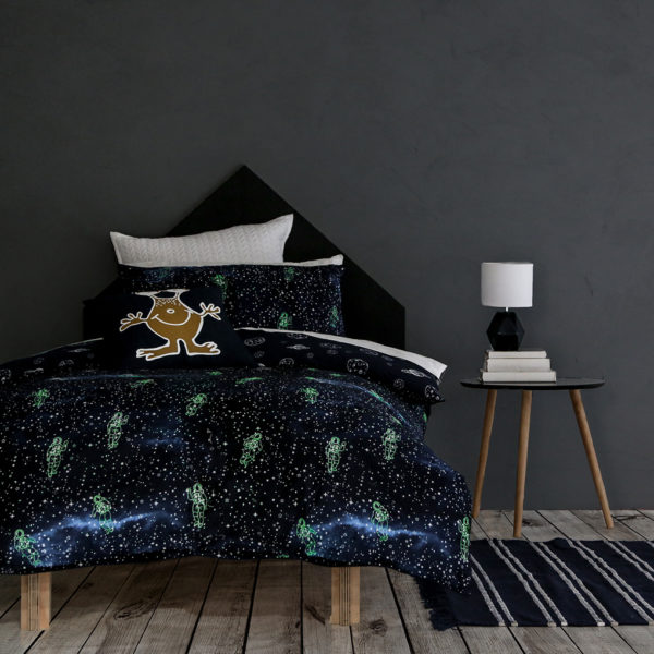 Galactic Nights Boys Quilt Cover Set Pillow Talk Glow in the Dark