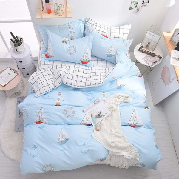 Sailing Boat Ocean Quilt Cover Set