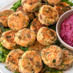 Mini Salmon Patties & Beetroot Dip