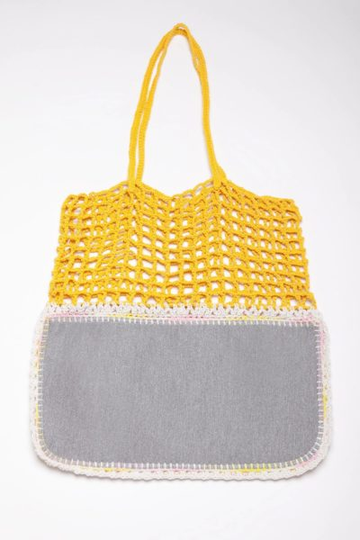 yellow crochet bag