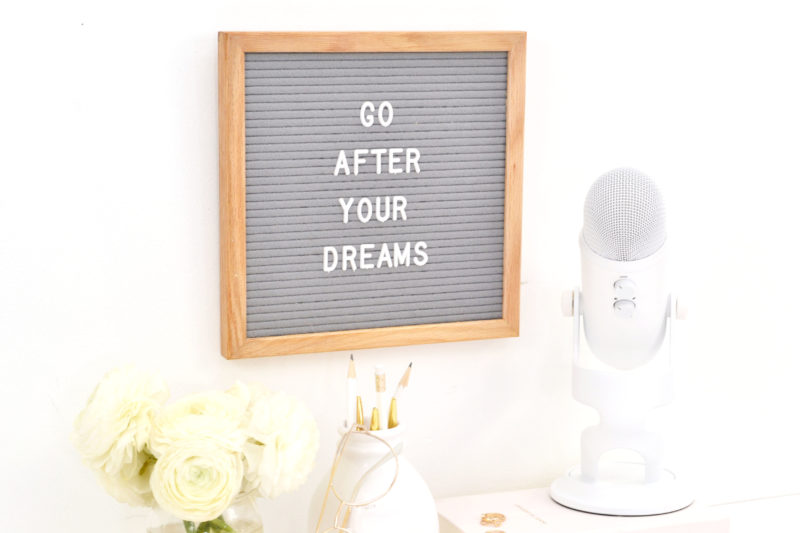 go after your dreams quote on wall