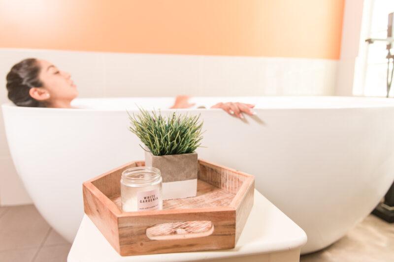 woman resting in the bathtub