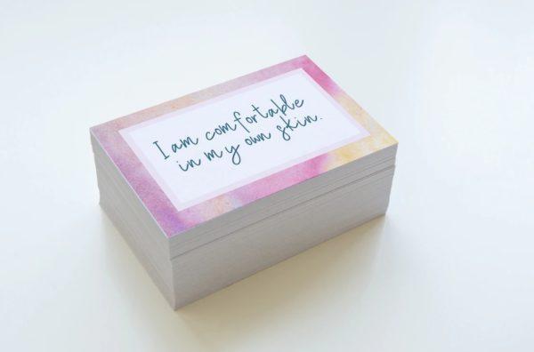 stack of affirmation cards